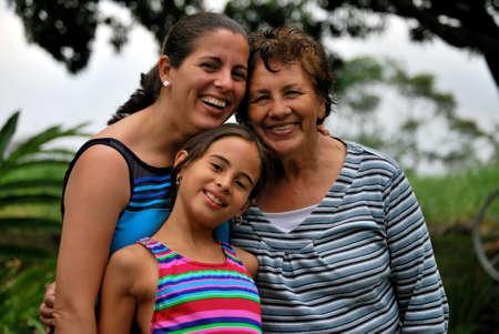 Three generations of Beautiful Hispanic Women
