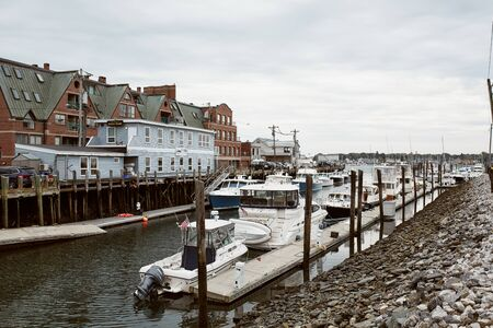 Photo pour Portland, Maine - September 26th, 2019: Commercial fishing wharf in the Old Port Harbor district of Portland, Maine. - image libre de droit