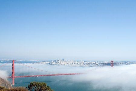 View of the Golden Gate Bridge hidden in clouds