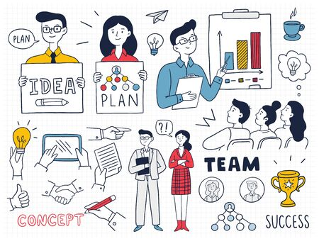 Illustration pour Colorful business concepts and icons with many people. Cute Vector Illustration in doodle style can be used in education, bank, It, SaaS, finance, marketing and other business areas. - image libre de droit