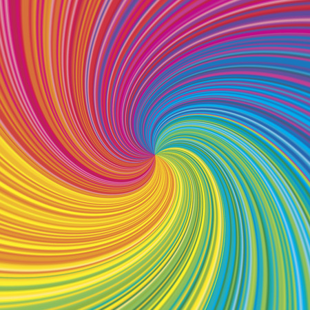 Ilustración de Vortex vector colorful rainbow background. Radial swirling illusion for design layout. - Imagen libre de derechos