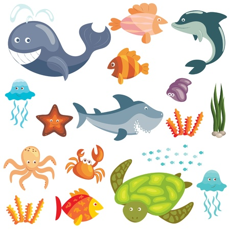 Set of cute cartoon sea animals on white background