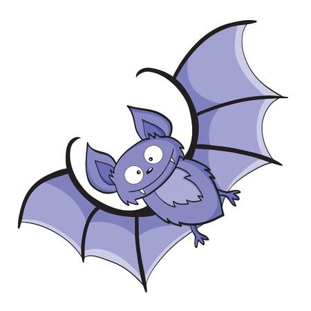 illustration of smiling cute cartoon bat