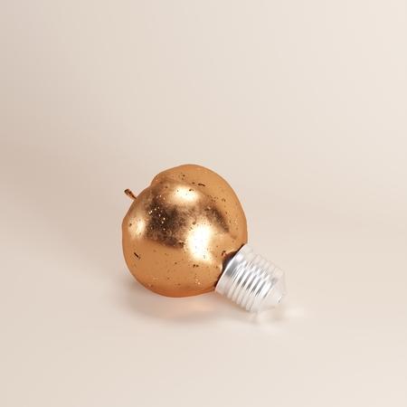 Photo pour Copper Old Apple Lightbulb  on  background. minimal idea concept. - image libre de droit