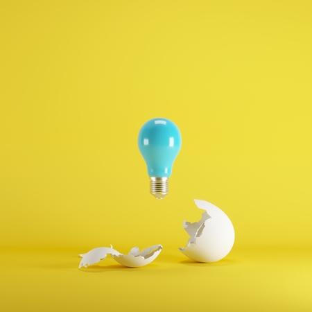 Photo pour Blue lightbulb floating born from white Egg on yellow background. minimal idea concept. - image libre de droit