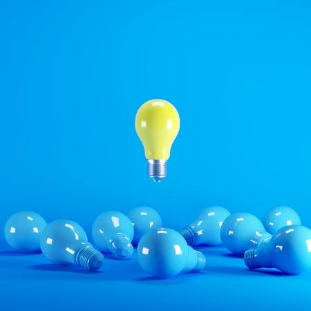 Photo pour Yellow Lightbulb floating among blue lightbulb on background. minimal idea concept. - image libre de droit