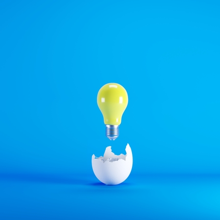 Photo for Yellow lightbulb floating born from white Egg on blue background. minimal idea concept. - Royalty Free Image
