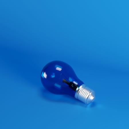 Photo pour Blue  Lightbulb on blue background. minimal idea concept. - image libre de droit