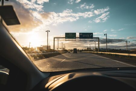 Photo for Car interior when driving on a highway in denmark in direction Kopenhagen - Royalty Free Image