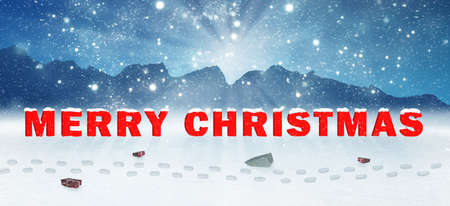 Photo for a christmas greeting card with presents in a wintry landscape - Royalty Free Image