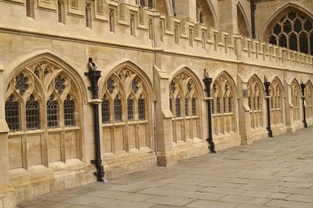 Detail of the cloisters of Bath Abbey. 16th Century church, Bath, England, United Kingdom