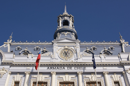 Ornate gothic style building, Comandancia Jefe de la Armada, in Plaza Sotomayor, Valparaiso, Chile