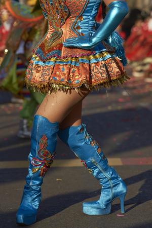ARICA, CHILE - JANUARY 23, 2016: Morenada dancer in traditional Andean costume performing at the annual Carnaval Andino con la Fuerza del Sol in Arica, Chile.