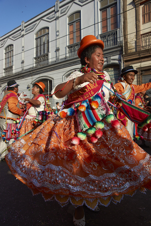 ARICA, CHILE - JANUARY 24, 2016: Ethnic dancers and musicians performing at the annual Carnaval Andino con la Fuerza del Sol in Arica, Chile.