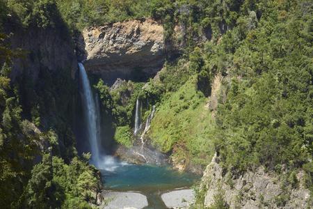Waterfall Velo de la Novia (Bride's Veil) in Parque Nacional Radal Siete Tazas in Maule, Chile.