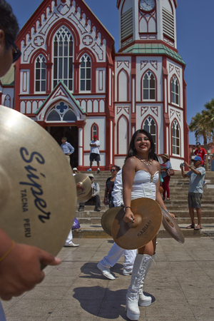 ARICA, CHILE - FEBRUARY 10, 2017: Band of a Morenada Dance Group performing during a street parade at the annual Carnaval Andino con la Fuerza del Sol in Arica, Chile