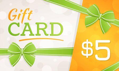 Photo pour Gift Card, gift voucher - 5 dollars - image libre de droit