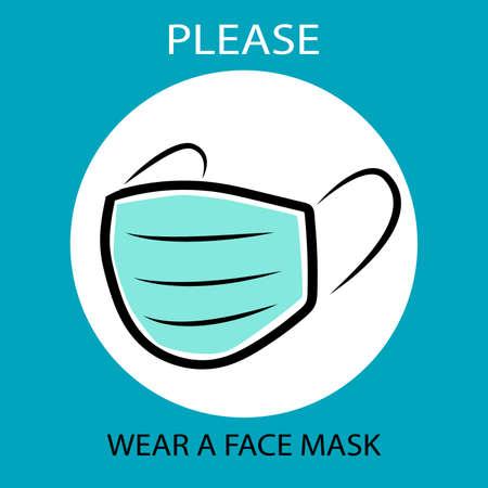 Illustration pour Please wear a face mask instruction icon. - image libre de droit