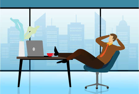 Illustration for Carefree businessman or manager relaxed in workplace. Man sleeps at table in modern office. Break or Siesta concept.Vector illustration - Royalty Free Image
