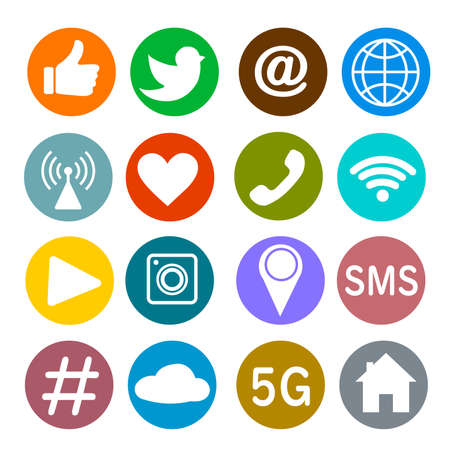 Illustration for Set of social networking icons. Web design flat icons isolated on white background - Royalty Free Image
