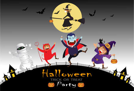 Illustration pour Halloween Kids Costume Party. Group of kids in halloween costume with bats and flying witch onthe moonlight. dark background. - image libre de droit