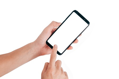 Photo pour Smartphone Mock up,Hand holding mobile phone and using touching screen isolated on white background with clipping path for design - image libre de droit
