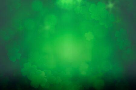 Photo for ST Patrick's day background green clover leaf bokeh lights defocused for ST Patrick's day celebration design background. - Royalty Free Image