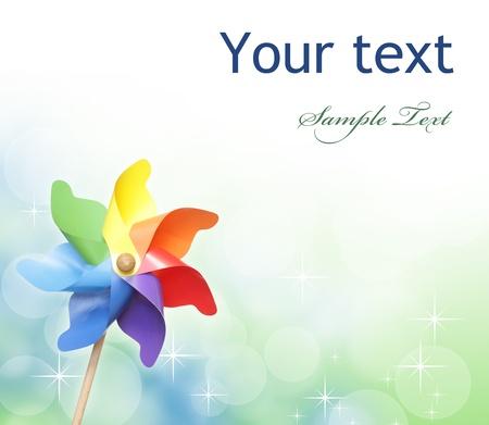 Colorful pinwheel against bokeh background