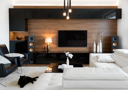 Photo pour Modern living room interior of real home - image libre de droit