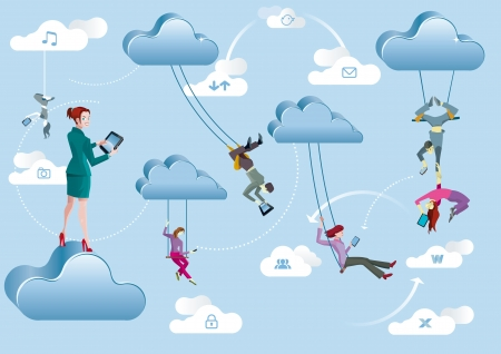 Business men and business women are working in the cloud like acrobats swinging between clouds and cooperating between them