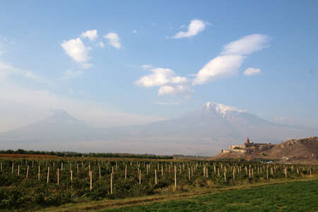 Chor Virap Monastery with the small and the large Ararat in the background, Armenia