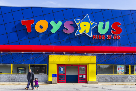 Indianapolis - Circa February 2017: Toys R Us Retail Strip Mall Location. Toys R Us is a Children's Toy Retailer I