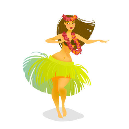 Illustration for Illustration of a Hawaiian hula dancer woman dancing in a grass skirt - Royalty Free Image