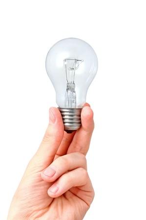 Closeup image of arm holding light bulb. Isolated on white background