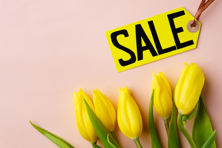 spring holidays sale, price tag and yellow tulips
