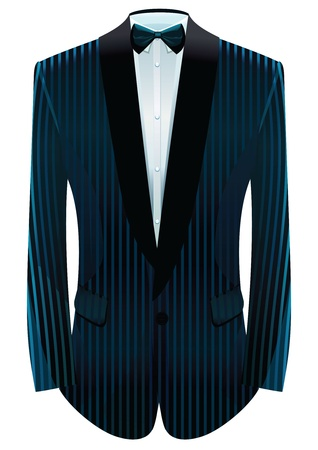 illustration of striped tuxedo and neck-tie.
