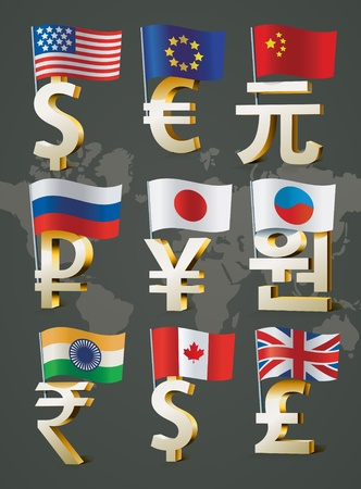 Illustration pour Golden signs of main world currencies. - image libre de droit