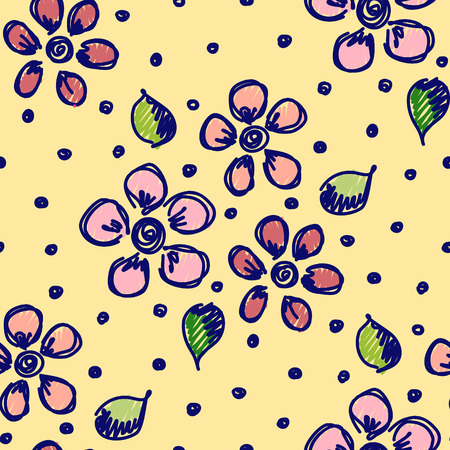 Seamless vector hand drawn seamless floral  pattern. Colorful Background with flowers. Decorative cute graphic drawn illustration.
