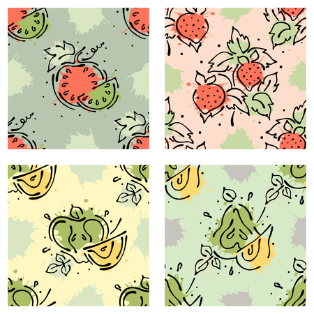 A Vector fruits seamless pattern. Watermelon, strawberry, berry, apple, pear with leaves, blots, drops splash Hand drawn contour lines and strokes Doodle sketch style graphic vector drawing illustration