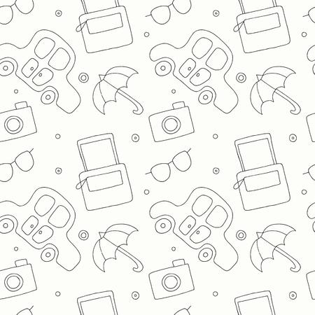 Illustration pour Seamless vector hand drawn pattern with decorative elements, car, bag, umbrella, sunglasses. Black and white background, graphic illustration, doodle style. Travel theme - image libre de droit