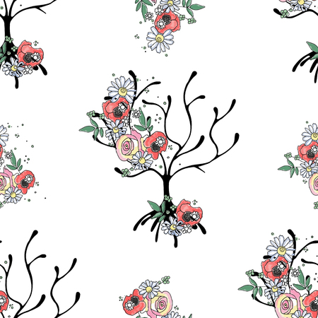 Illustration pour Vector hand drawn seamless pattern, graphic illustration of tree with flowers, leaves, branch Sketch drawing, doodle style. Artistic abstract, watercolor silhouette wirh rose, poppy, dandelion, leaf. - image libre de droit