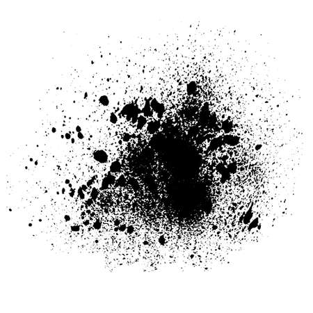 Illustration for Vector black and white ink splash, blot and brush stroke Grunge textured element for design, background. - Royalty Free Image