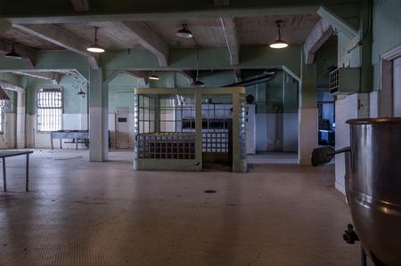 Decayed Alcatraz Island interior kitchen facilities.
