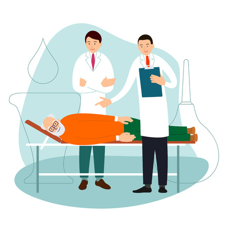 Illustration for Doctor and old patient. Two doctors are standing by bed of an old man. Patient lies on bed. Specialists consult and diagnose. Cartoon illustration isolated on white background in flat style.  - Royalty Free Image