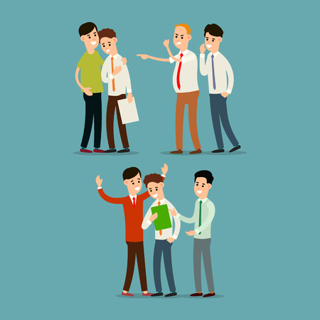 Illustration pour Boss screams and dismisses employee. Colleague soothes employee. Teamwork business. Partnership in office work. Cartoon illustration isolated in flat style. - image libre de droit