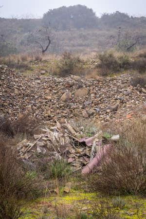 Photo pour polluting, hazardous and carcinogenic waste dumped in the - image libre de droit