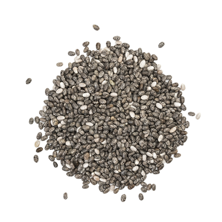Photo pour Small pile of chia seeds seen directly from above and isolated on white background - image libre de droit