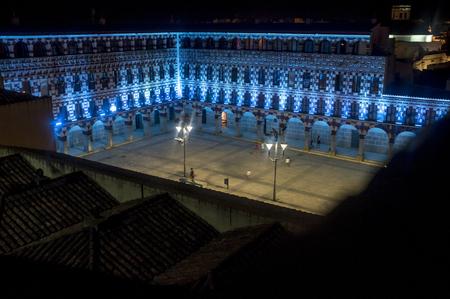 Hight square of Badajoz,  illuminated by led lights at night. View from Alcazaba battlements