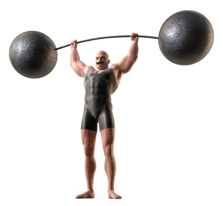 Photo pour A muscular man with a handlebar mustache and a body suit lifting a weight with a bending bar. - image libre de droit