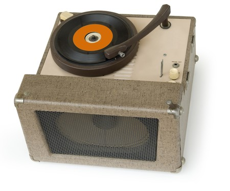 50s era phonograph playing a 45 single vinyl record isolated on a white background